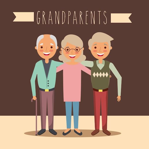 Grands-parents Vecteur Premium