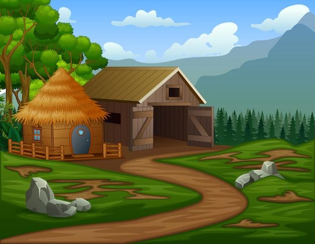 Grange De Dessin Animé Avec Une Cabane Dans Les Terres Agricoles Vecteur Premium