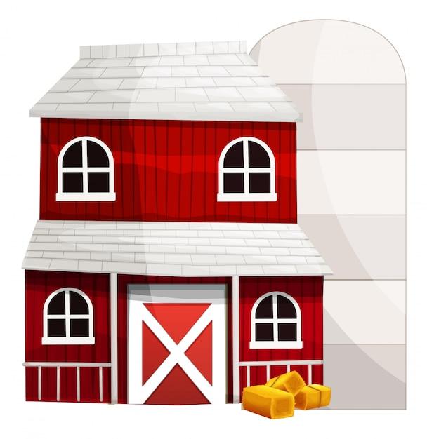 Grange Rouge Et Silo Blanc Vecteur gratuit