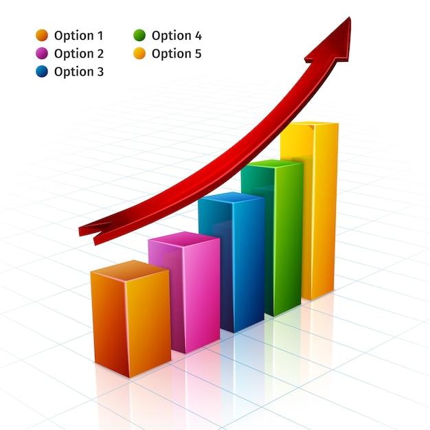 Graphique D'affaires 3d Vecteur gratuit