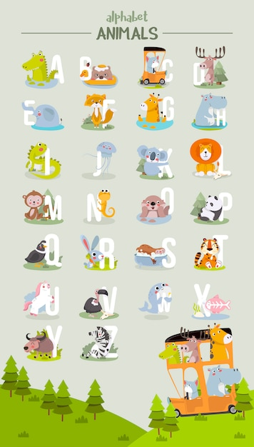 Graphique de l'alphabet animal de a à z. alphabet de vecteur mignon zoo avec des animaux dans un style bande dessinée. Vecteur Premium