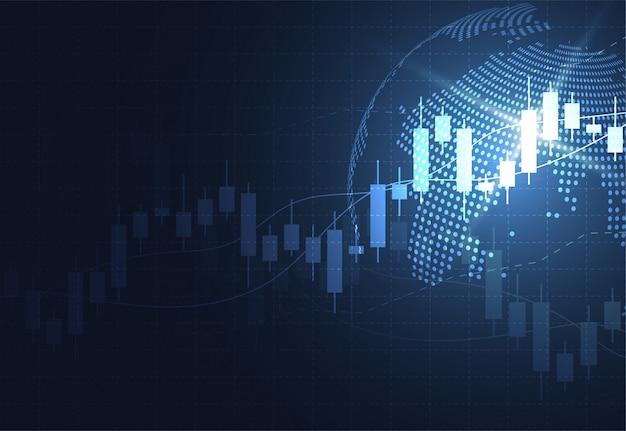 Graphique de bougie bâton graphique du marché boursier Vecteur Premium
