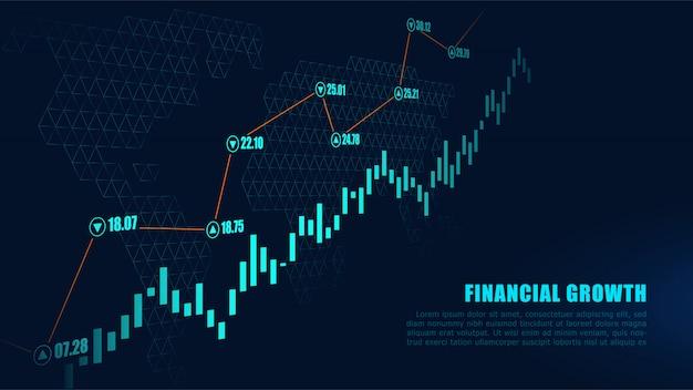 Graphique boursier ou forex en concept graphique Vecteur Premium