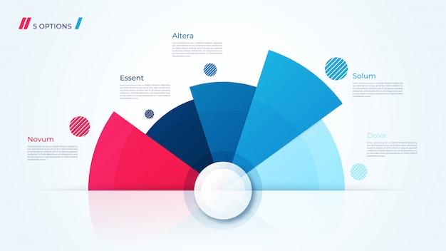 Graphique circulaire, modèle moderne pour la création d'infographies, de présentations, de rapports et de visualisations Vecteur Premium