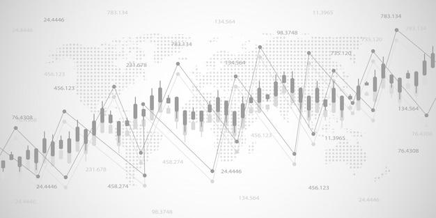 Graphique économique avec des diagrammes en bourse Vecteur Premium