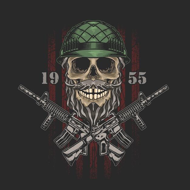 Graphique D'illustration De L'armée De Crâne Américain Vecteur Premium