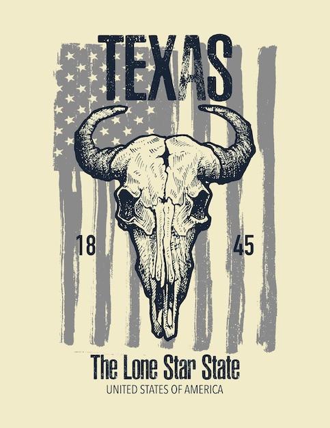 Graphique Imprimé De T-shirt Texas Buffalo. Vecteur Premium