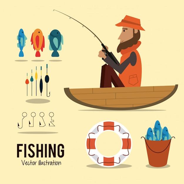 Graphique de pêche Vecteur Premium