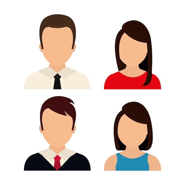 Graphique de profil de personnes Vecteur Premium