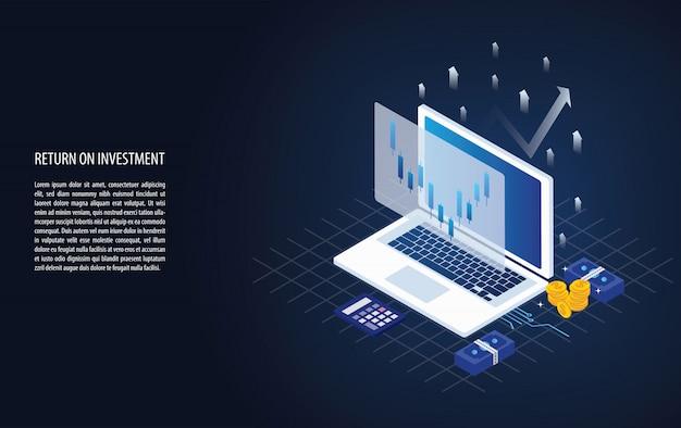 Graphique de retour sur investissement isométrique et graphique dans un ordinateur portable Vecteur Premium
