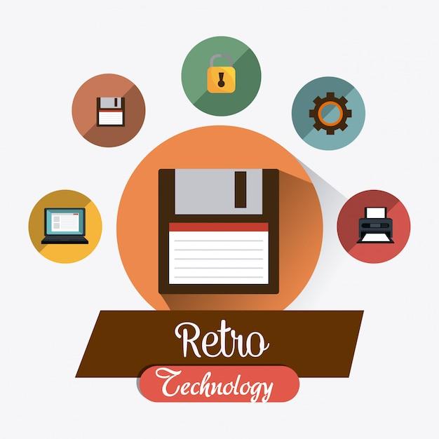 Graphique de technologie rétro et vintage Vecteur gratuit