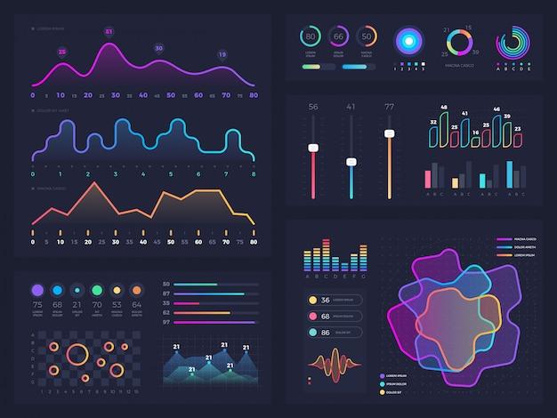 Graphique technologique et diagramme avec options et diagrammes de flux de travail. éléments d'infographie de présentation de vecteur Vecteur Premium