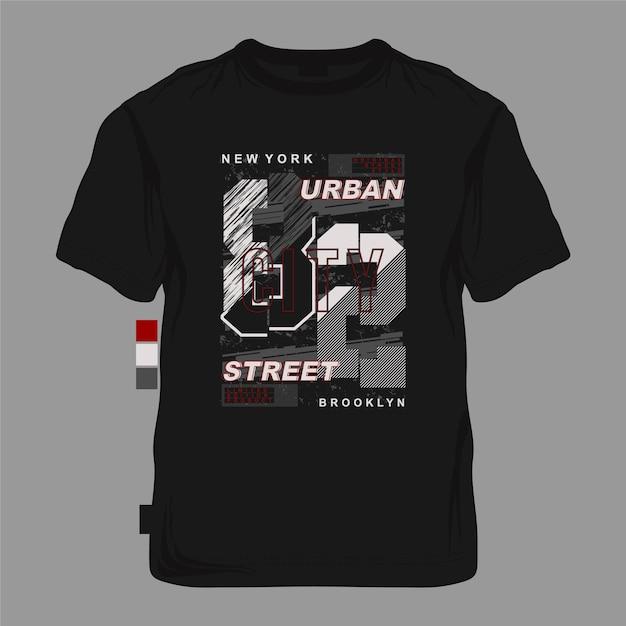 Graphique De Typographie Abstraite Rayé De Rue Urbaine De New York City Pour T-shirt Vecteur Premium