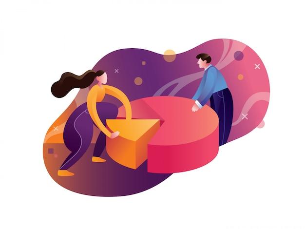 Graphiques et analyse statistiques illustration Vecteur Premium