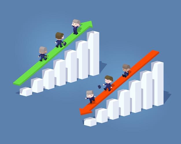 Graphiques et flèches 3d lowpoly positifs et négatifs pour les entreprises Vecteur Premium
