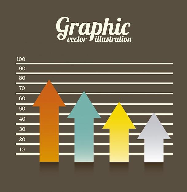 Graphiques de flèches sur illustration vectorielle fond marron Vecteur Premium