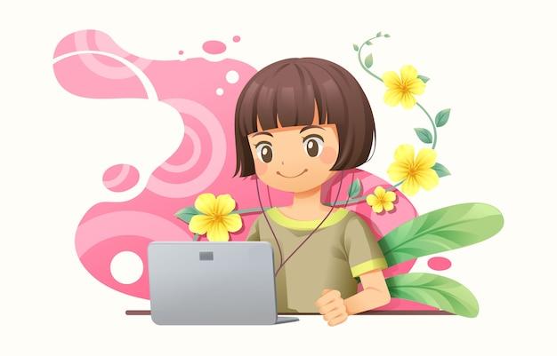 Graphiste Femme Travaillant Avec Un Cahier Vecteur Premium