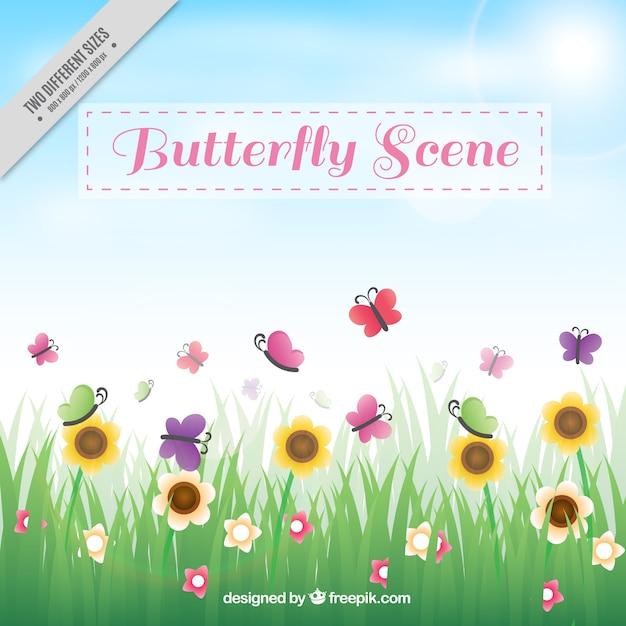Grass Background Avec Des Fleurs Et Des Papillons Vecteur gratuit