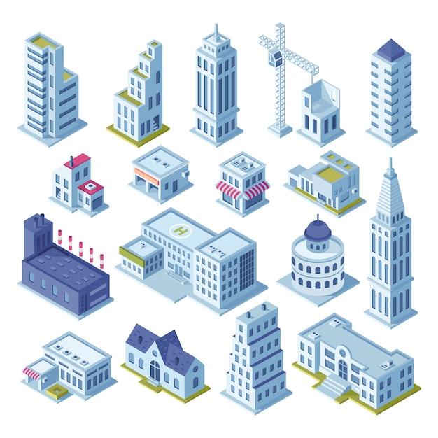 Gratte-ciel de construction et bureau aux icônes du district du centre-ville Vecteur Premium