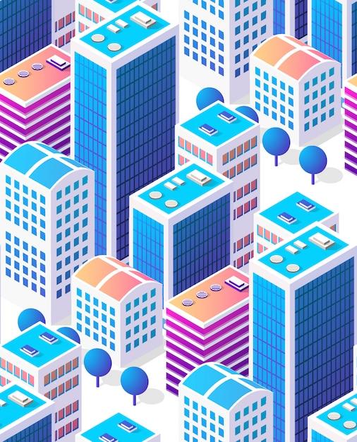 Gratte-ciel du centre-ville de ville transparente fond isométrique Vecteur Premium