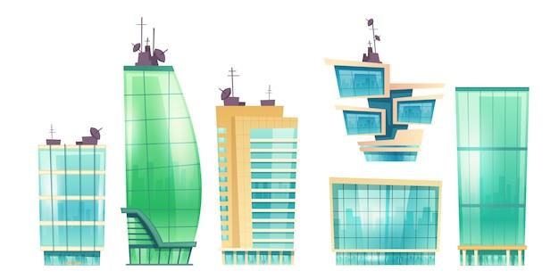 Gratte-ciel De Vecteur, Immeubles De Bureaux Modernes Vecteur gratuit