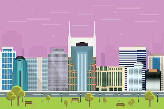 Gratte-ciel de la ville de nashville illustration Vecteur Premium