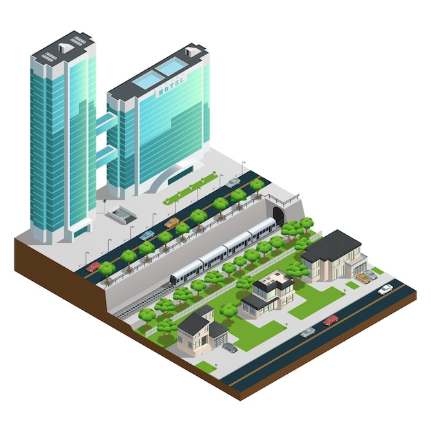 Gratte-ciels Isométriques Et Maisons De Banlieue Près D'illustration Vectorielle De Tunnel Ferroviaire Composition Vecteur gratuit