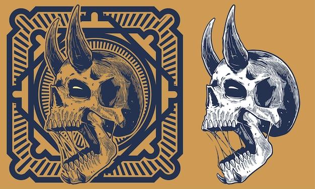 Graver Le Crâne Avec Illustration Vintage De Corne Vecteur Premium