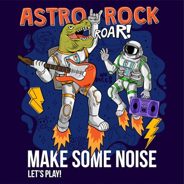 Gravure De Deux Astronautes Cool Mec Dino T-rex Et Spaceman Jouent Astro Rock à La Guitare électrique Entre Les étoiles Planètes Galaxies Cartoon Comics Pop Art Pour La Conception D'impression T-shirt Affiche De Vêtements Pour Enfants Vecteur Premium