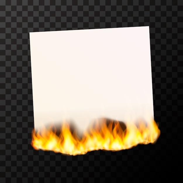 Gravure D'une Feuille De Papier Blanc Brillant Avec Des Flammes De Feu Vecteur Premium
