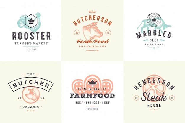 Gravure De Logos Et D'étiquettes D'animaux De Ferme Avec Un Style Dessiné à La Main Typographie Vintage Moderne. Vecteur Premium