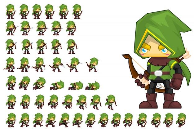 Green archer game character Vecteur Premium