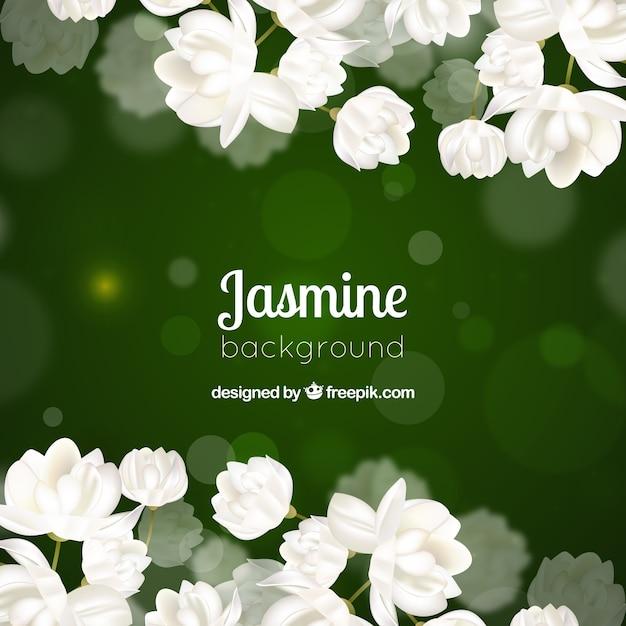 Green bokeh fond de fleurs blanches Vecteur gratuit