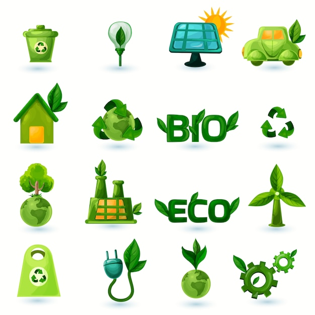 Green ecology icons set Vecteur gratuit