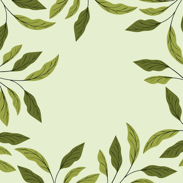 Green Leafs Décoration Cadre Naturel Vecteur gratuit