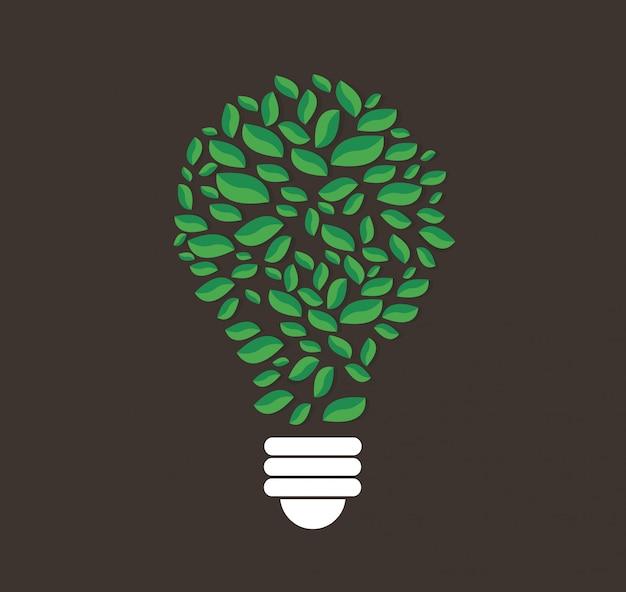 Green leafs en forme d'ampoule Vecteur Premium