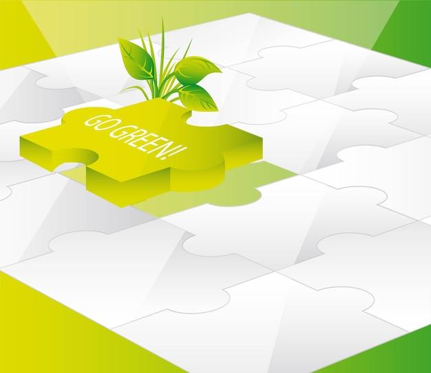 Green puzzles avec go illustration vectorielle de texte vert Vecteur Premium