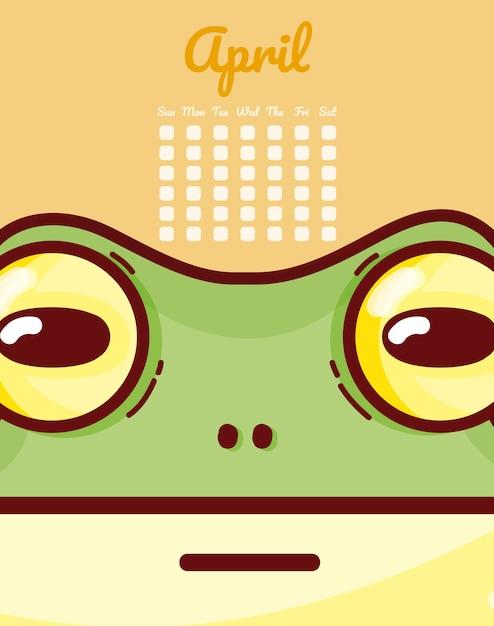 Calendrier Dessin Anime.Grenouille Avril Calendrier Dessin Anime Vector Illustration