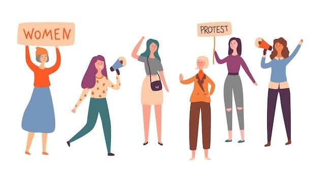 Grève De Protestation De Groupe De Caractères Féminisme Féminin Vecteur Premium