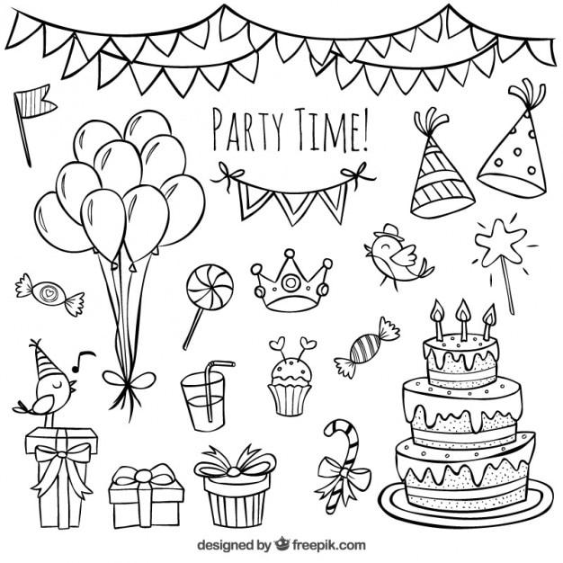 Griffonnages d'anniversaire dessinés à la main Vecteur Premium