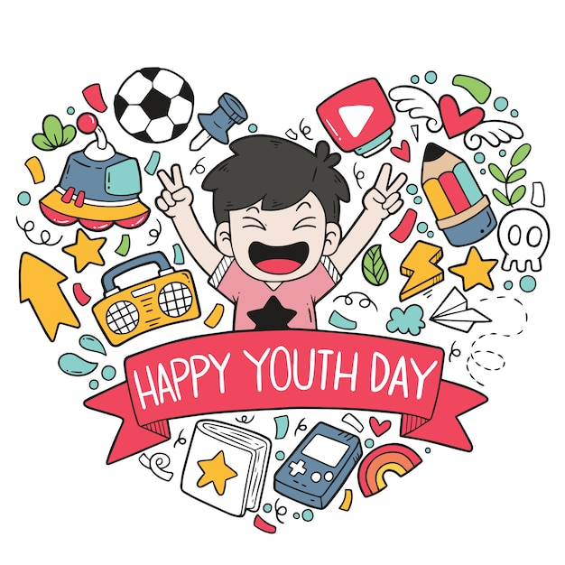 Griffonnages dessinés à la main illustration du modèle heureux jour de la jeunesse ornements Vecteur Premium
