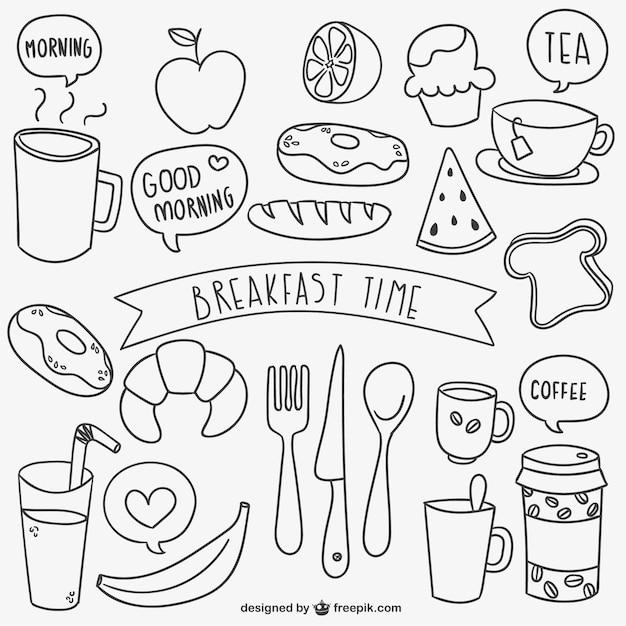 Griffonnages de temps de petit déjeuner Vecteur gratuit