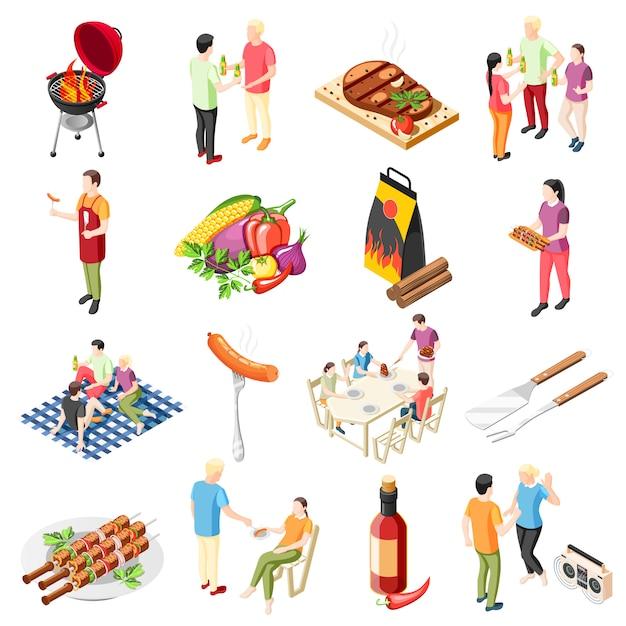 Grill Bbq Party Collection D'icônes Isométriques Avec Des Icônes Isolées De Grillades Et De Personnes Vecteur gratuit