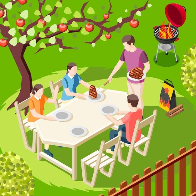 Grill Bbq Party Isométrique Illustration Avec Arrière-cour Paysage Et Membres De La Famille Personnages Assis à Table Vecteur gratuit