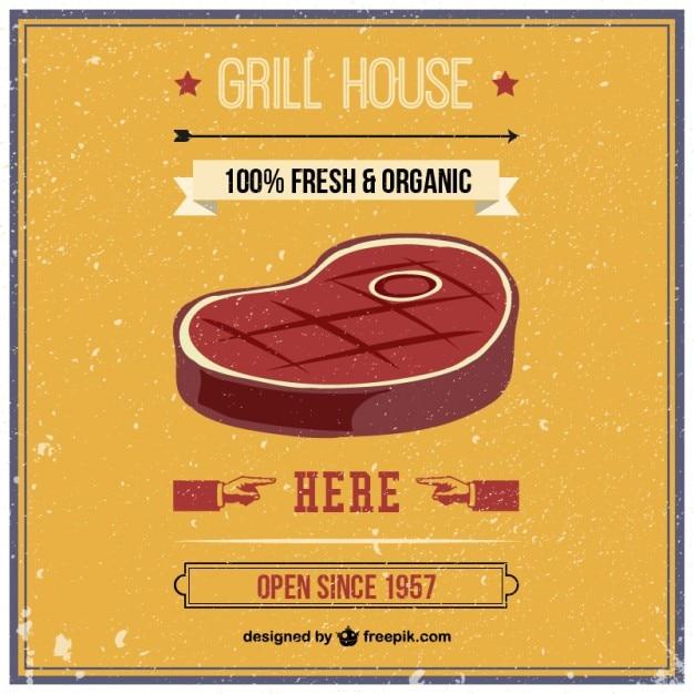 Grill House Rétro Vecteur Vecteur Premium