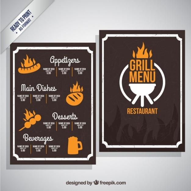 Grill menu template Vecteur gratuit