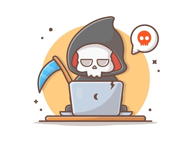 Grim Reaper Utilisant Un Ordinateur Portable Vector Icon Illustration Vecteur Premium