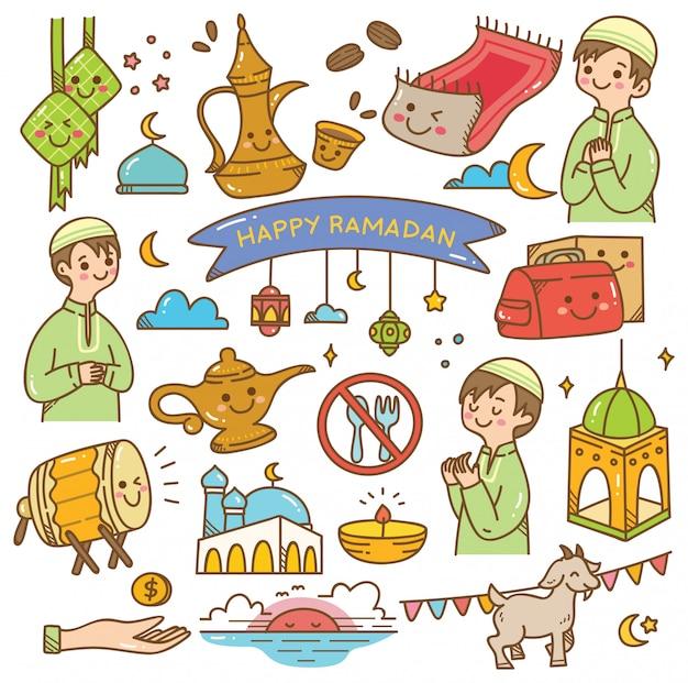 Griodle kawaii du ramadan Vecteur Premium