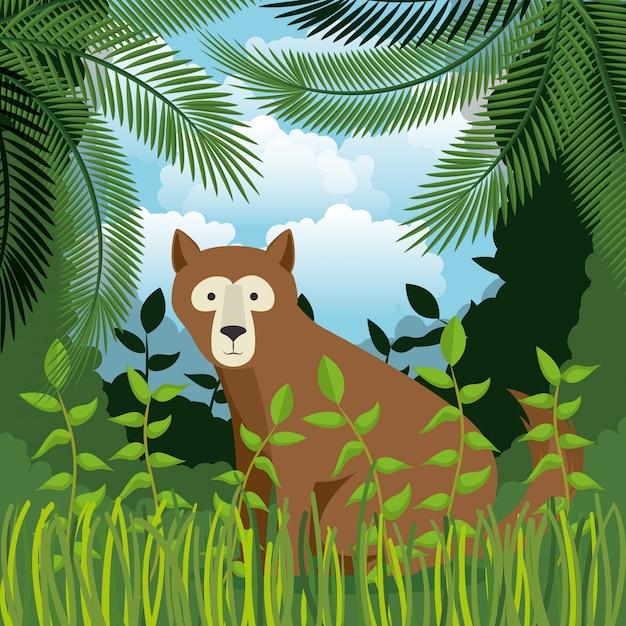 Grizzly ours sauvage dans la scène de la jungle Vecteur gratuit
