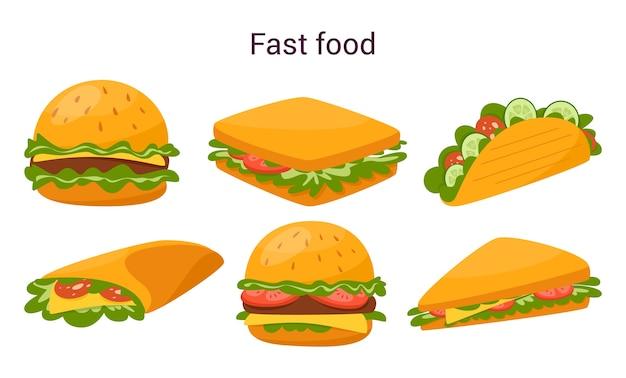 Gros Hamburger Savoureux Et Sandwich Avec Fromage, Tomate Et Boeuf Vecteur Premium
